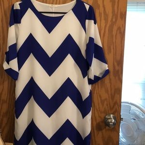 Blue Chevron Dress
